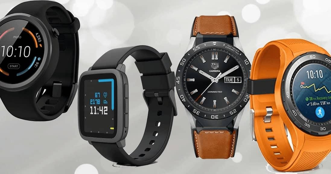 een selectie smartwatches van verschillende merken