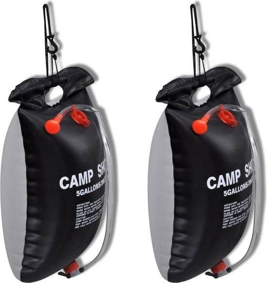 vidaXL Campingdouches 2 st solar 20 L