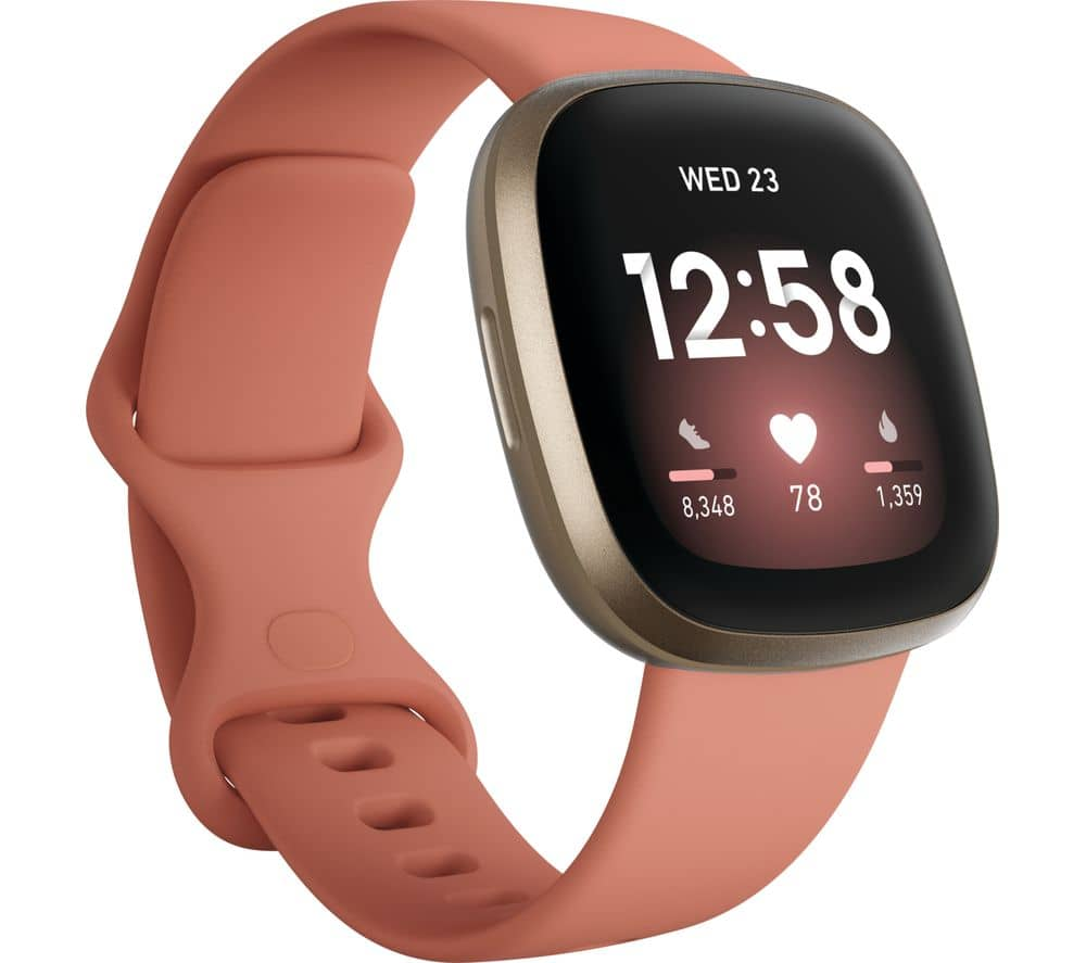 fitbit versa 3 pink and gold
