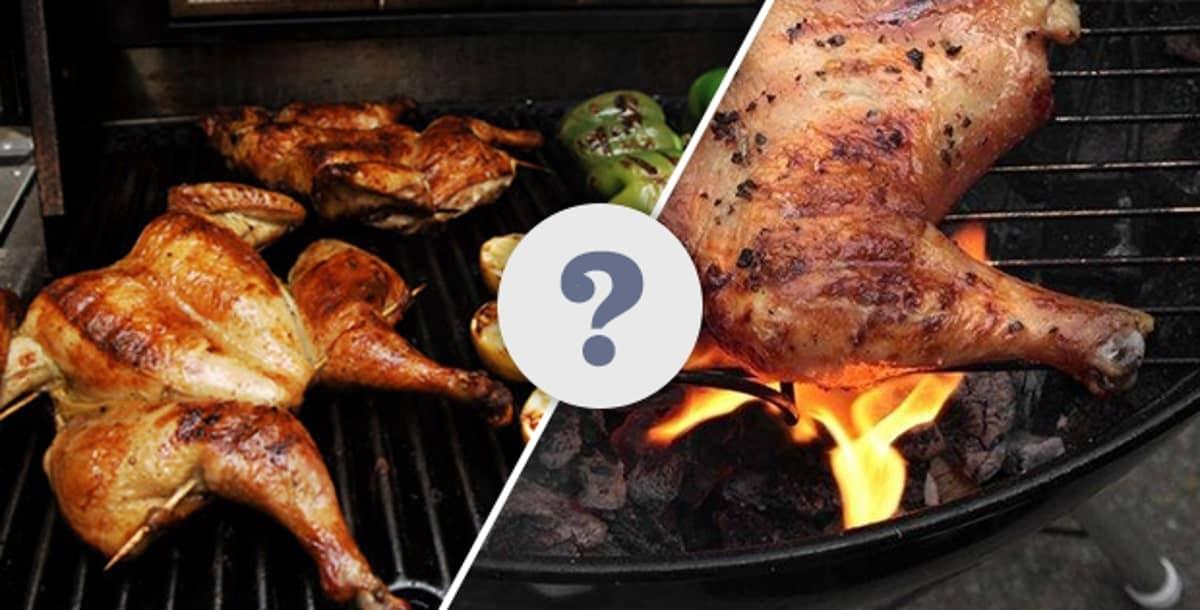 een kolenbarbecue vergeleken met een gasbarbecue